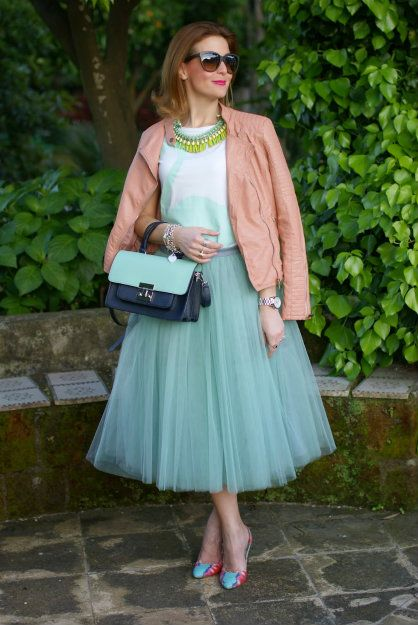 This vintage inspired skirt looks modern with the addition of a leather jacket. Perfect long skirts for women over 40 and 50. From Fabulous After 40 blog