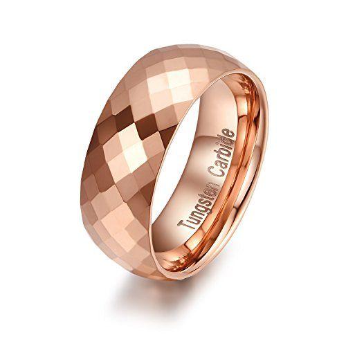 メンズ タングステン リング 指輪,ひし形カット クラシック シンプル 結婚指輪,ローズゴールド KZUN…