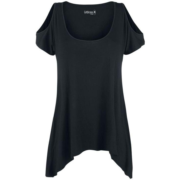 Oryginalna koszulka damska Gothicana by EMP - Off-Shoulder Shirt   Detale: - nadruk na plecach - wzór: duże skrzydła - odsłonięte ramiona - dekolt szeroki - dłuższe boki  Lubisz styl gotycki? W takim razie Gothicana by EMP to marka dla Ciebie. Piękna, głęboka czerń i efektowne wzory - to jej znaki firmowe.