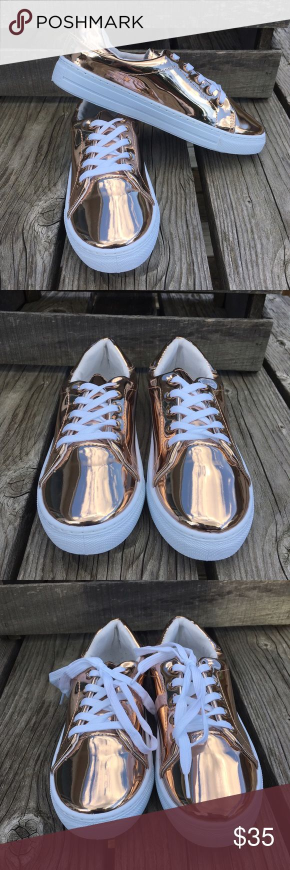🆕List!💫 Metallic Rose Gold Lace-Up Sneaker! NEW! So fun for summer and fall! Metallic rose gold with white rubber soles and white laces. Soles approximately one inch. Sizes 6 - 10. New in box direct from wholesaler. Friendsnfashion Boutique Shoes Sneakers