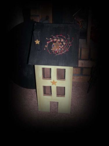 Lg-Wood-Sage-Green-Saltbox-House-Star-Electric-Light-On-Off-Switch-Pip-Berry