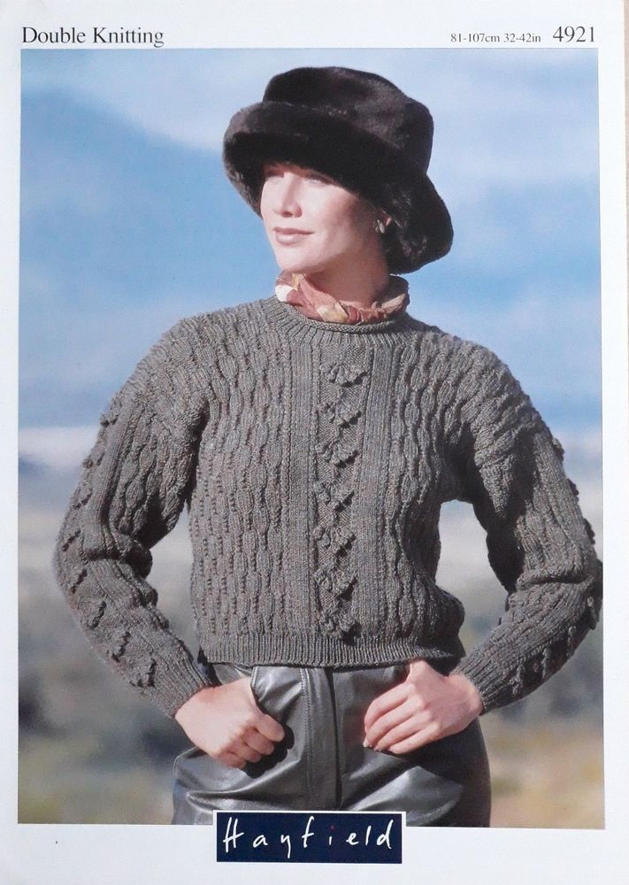 7b3252493 Knitting pattern Hayfield 4921 ladies DK cropped sweater with bobble pattern   Hayfield