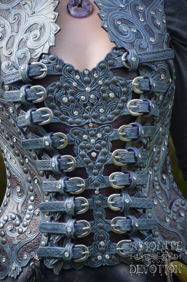 Steampunk corset, leather, a