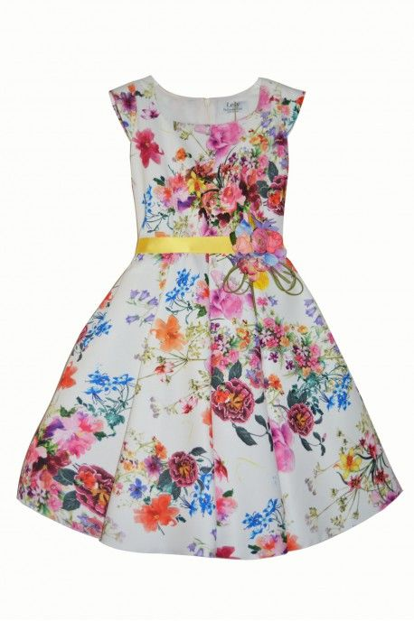 Multicolor printed pique dress