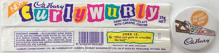 1990s Cadbury Curly Wurly Wrappers & Badge