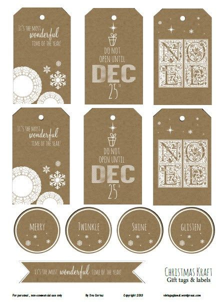 Christmas Kraft II Gift Tags. Resize for project life filler cards.