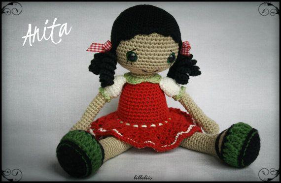 PATTERN  Gipsy girl Anita amigurumi crochet by lilleliis on Etsy, $6.50