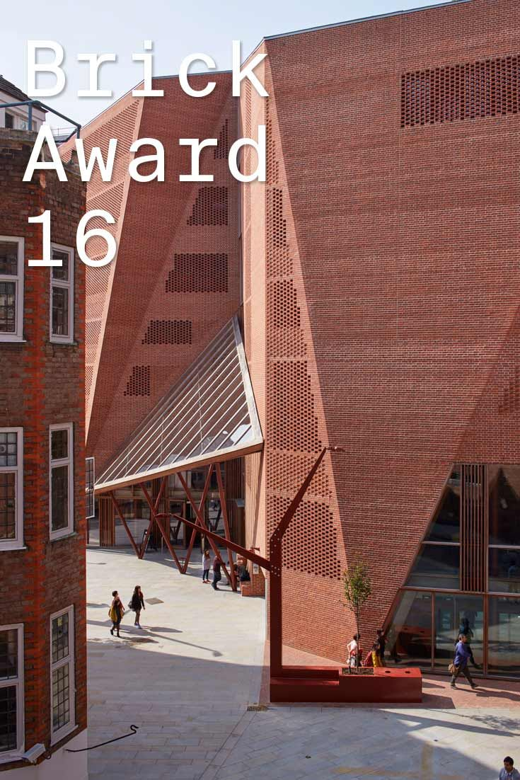 #WienerbergerBrickAward 2016 nominee 27: Saw Swee Hock Student Centre, UK by O'Donnell + Tuomey, Ireland. The building is clad with bricks, with each brick offset from the next in an open-work pattern, creating dappled daylight inside and glowing like a lattice lantern at night.  Photographer: xy ow.ly/VUaRz