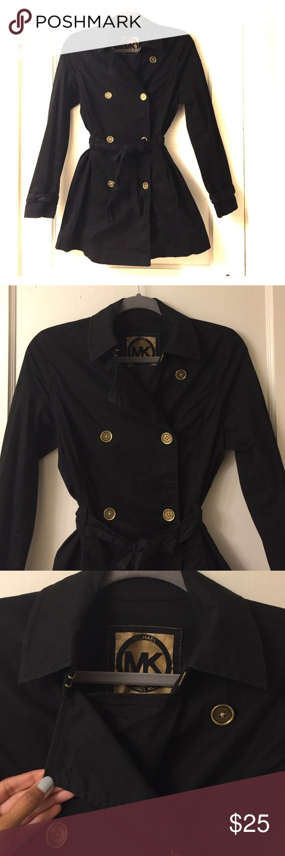 Michael Kors lightweight trench coat~ Size Small Michael Kors lightweight trench coat~ Size Small~ Black. Worn once. Perfect condition, just needs ironing. Light weight cotton trench. Perfect for fall or spring. Bronze buttons with belt to cinch in the middle. Michael Kors Jackets & Coats Trench Coats