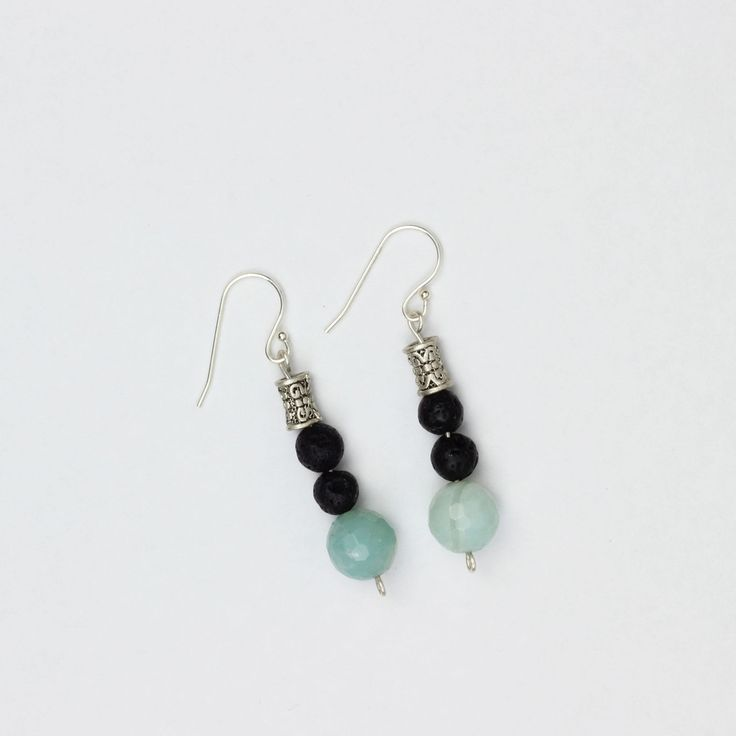 Irresistible Earrings in blue | Made with lava stone, amazonite, Tibetan Silver and sterling silver findings.