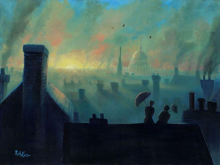 Mary Poppins - A View from the Chimneys - Rob Kaz - World-Wide-Art.com - #disneyfineart #robkaz #marypoppins