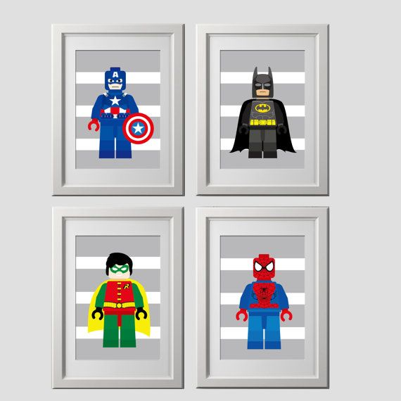 Lego Superhero Wall Art Set Of 8 Wall Art By AmysSimpleDesigns