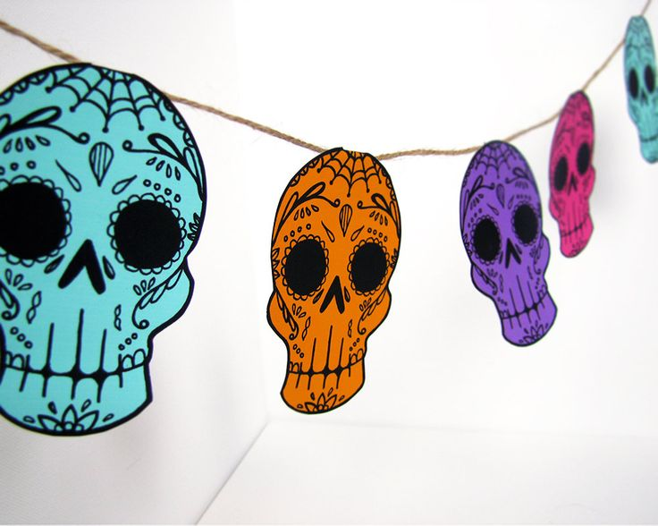 Printable Sugar Skull Garland- DIY decor - Day of the Dead  - Dia de los Muertos - Colorful - Pink - Teal. $5.00, via Etsy.