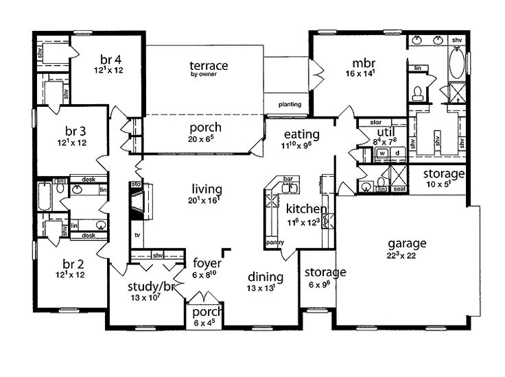 Floor plan 5 bedrooms single story five bedroom tudor - Single story four bedroom house plans ...