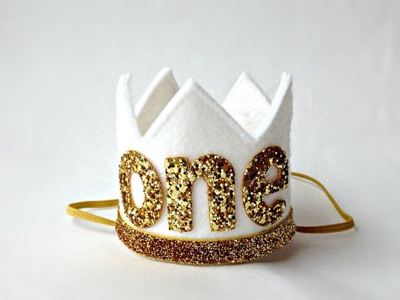 First Birthday Crown White and Gold Felt Crown by littleblueolive