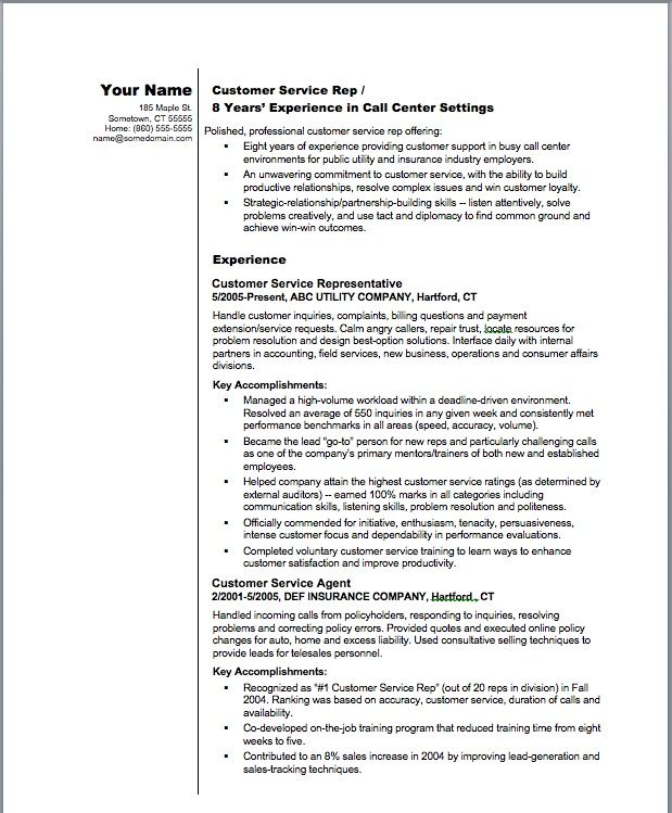 CV Example | Customer Service Representative Resume Sample