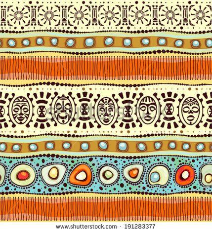 African ethnic seamless horizontal pattern, vector illustration. - stock vector