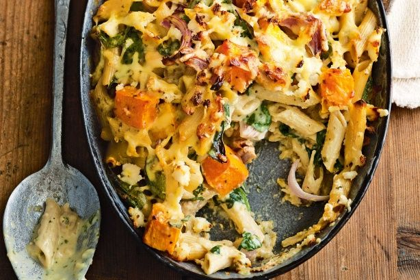 Aromatic basil pesto complements the sweet, baked pumpkin and adds a big flavour punch to this pasta bake.