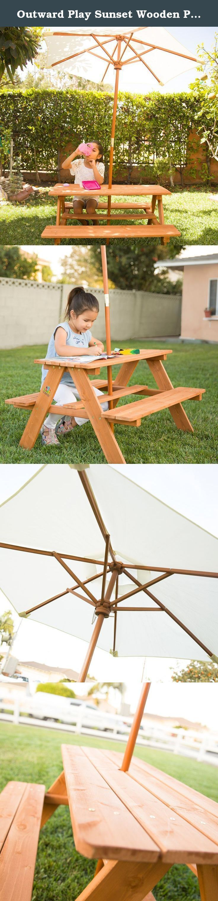 Outward Play Sunset Wooden Picnic Table with Umbrella. Ideal for relaxing after a hard day in the sandbox, the Sunset Picnic Table from Outward Play is designed for kids between 3 to 9, and it features a UV-protected umbrella to keep them cool and in the shade. The Sunset picnic table with two benches is made with high-quality timber that's dried at a high temperature for long durability outside, and it's stained to be resistant to wood rot and insect damage. The umbrella can be removed…