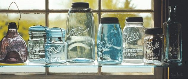 These are not photographs: 10 astonishingly realistic still life paintings...: Oil Paintings, Realistic Paintings, Art Paintings, Hyperrealist Paintings, Still Life, Photorealist Oil, Glasses Jars, Photorealist Paintings, Steve Mills