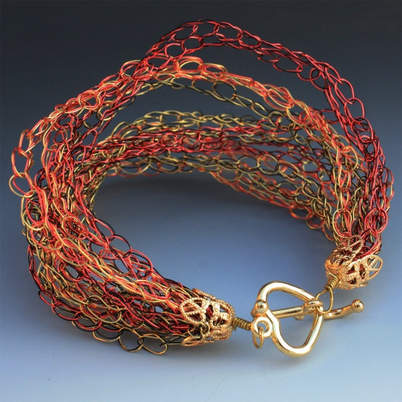 Crocheted Wire Bracelet In Gold and Magenta by Aliona K