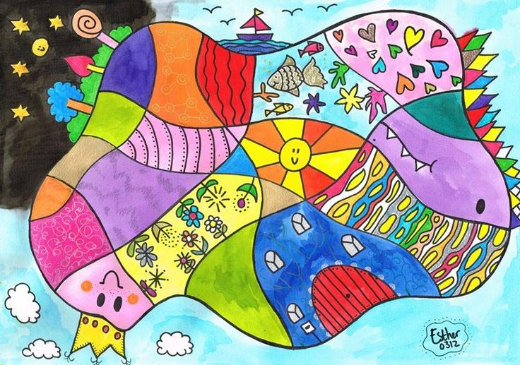 """Dit schilderij in de serie """"De Droomvallei ontmoet Hundertwasser"""" heeft als titel """"de sproetenkoningin"""".  Ook eens zo een prachtig en kleurrijk schilderij maken? Stap voor stap bouwen we aan aan prachtig kunstwerk. Teken of schilderervaring is niet nodig bij de Droomvallei workshops. www.droomvallei.net"""