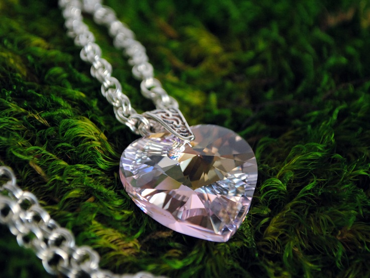 Sweet 16 Romantic Pink Crystal Heart Necklace by GemBoutiqueOnline $55
