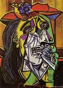Huilende vrouw, 1935, geschilderd door Pablo Picasso. Techniek: olieverf op doek. Als je een portret maakt van iemand die opzij kijkt zie je maar één oor en één oog. Je kunt dan ook goed zien wat voor neus en kin iemand heeft. Dat noem je 'En profiel'. Je kunt ook een portret van iemand maken die je recht aan kijkt. Dan zie je twee ogen, een neus en een mond. Dat noem je 'En face'. Is deze vrouw 'En face' of 'En profiel' geschilderd?