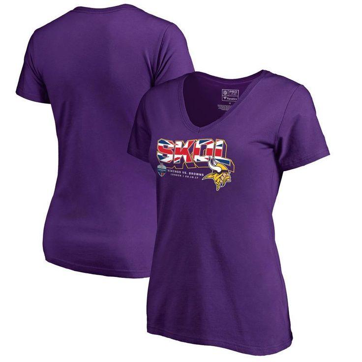 Minnesota Vikings Fanatics Branded Women's 2017 NFL London Game Slim Fit V-Neck T-Shirt - Purple