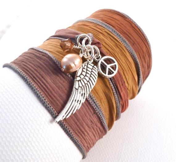 Silk Ribbon Bracelet $32.00 @charmeddesign1012 #etsyfollow #bracelet #silk #jewelry #accessories #peaceCharmeddesign1012 Etsyfollow, Angel Wings, Wraps Bracelets, Bracelets Silk, Bracelets 32 00, Etsyfollow Bracelets, Ribbons Bracelets, Angels Wings, Etsy Treasury