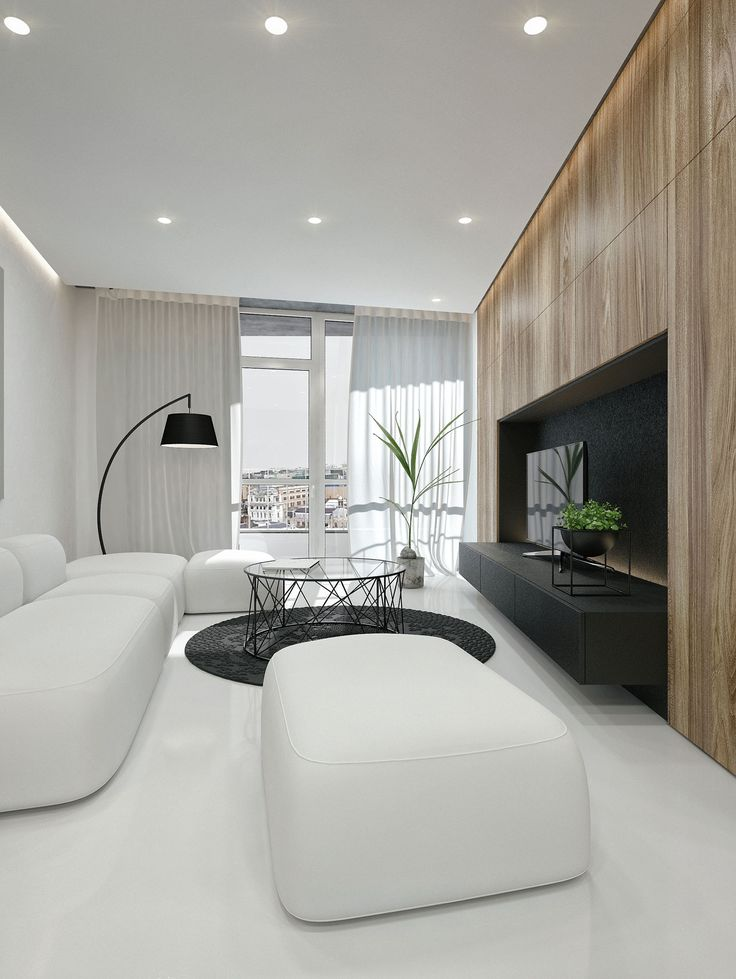 """Contemporary Interior Box is a residential project designed by IDwhite in 2016. It is located in Kaunas, Lithuania. Contemporary Interior Box by IDwhite: """"Contemporary interior Box is designed in 2016 by IDwhite and is located in Kaunas, Lithuania. This 55 square meter (592 square foot) flat was designed with the idea to separate spaces by contrast. The living room is very bright and clean, through this space, you are able.."""