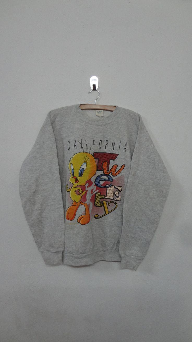 Tweety California Cartoon Sweatshirt Vintage 90's Tweety Walt Disney Pullover Looney Tunes Mickey Mouse Warner Bros Sweatshirt Size M by NotreShop on Etsy