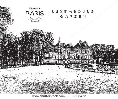 Paris - France. Luxembourg Garden with Palais. Vector illustration