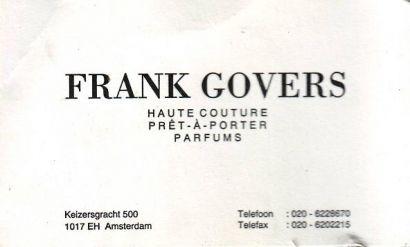 Het visitekaartje van Frank Govers.