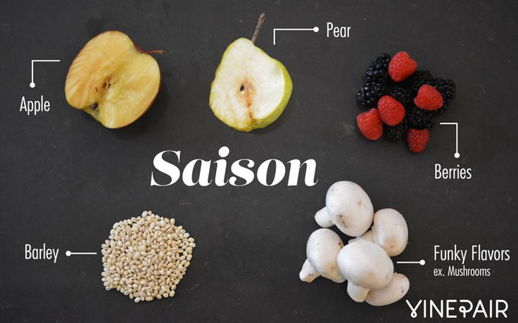 Saison beers will typically have tons of fruit, including but not limited to berries, apples, and stone fruits like pears or peaches. A little bit of malt or barley will dance with funky, non-traditional flavors as crazy as mushrooms.