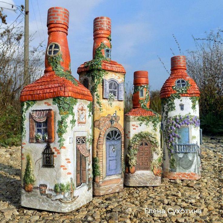 Купить Бутылка-светильник Мой прованский городок 3-D декупаж - комбинированный, бутылка