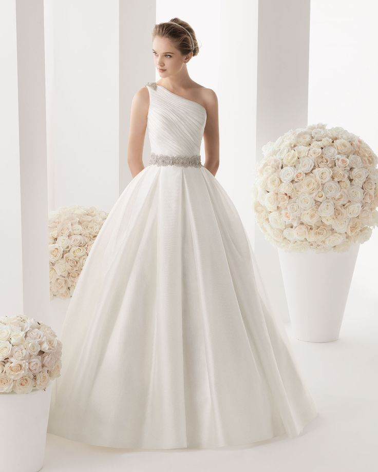 Unique Luxurious One Shoulder a line Court Train Sexy Wedding Dresses Rosa Clara Melia Two