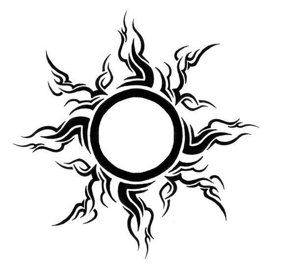 Brilliant Tribal Sun Tattoo Stencil
