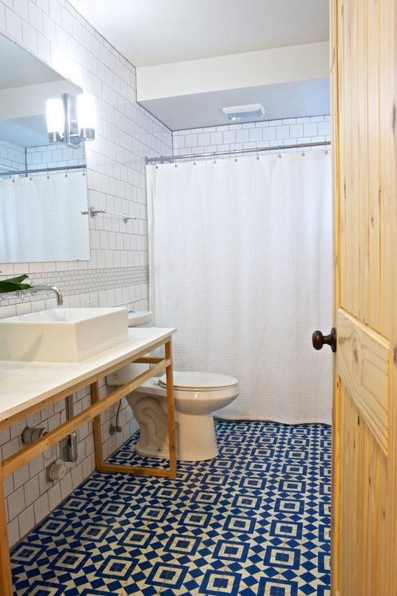 Good Blue Patterned Bathroom Tiles Part - 10: Eye Candy: 14 Bold Bathrooms With Patterned Floor Tile
