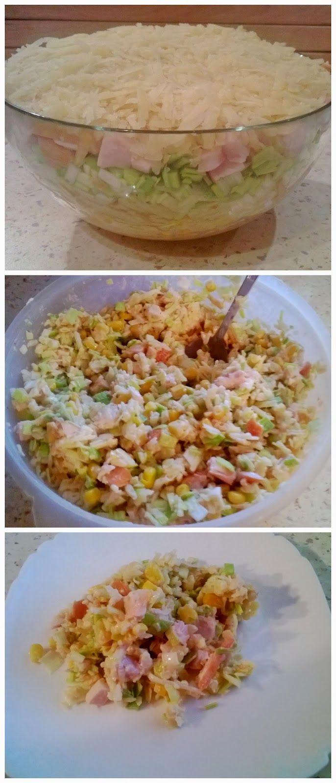 Zdrowo i dietetycznie. Moja rzeczywistość: Zdrowa sałatka (z selerem konserwowym, kukurydzą, jabłkiem, kurczakiem...)