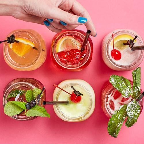 Our Summer Drinks!  Meet Rocker Cider Shandy, Sangria Rosa, Black Cherry Frozen Lemonade, Paradise Punch, Tropical Rock and non-alcoholic Summertime Blues!