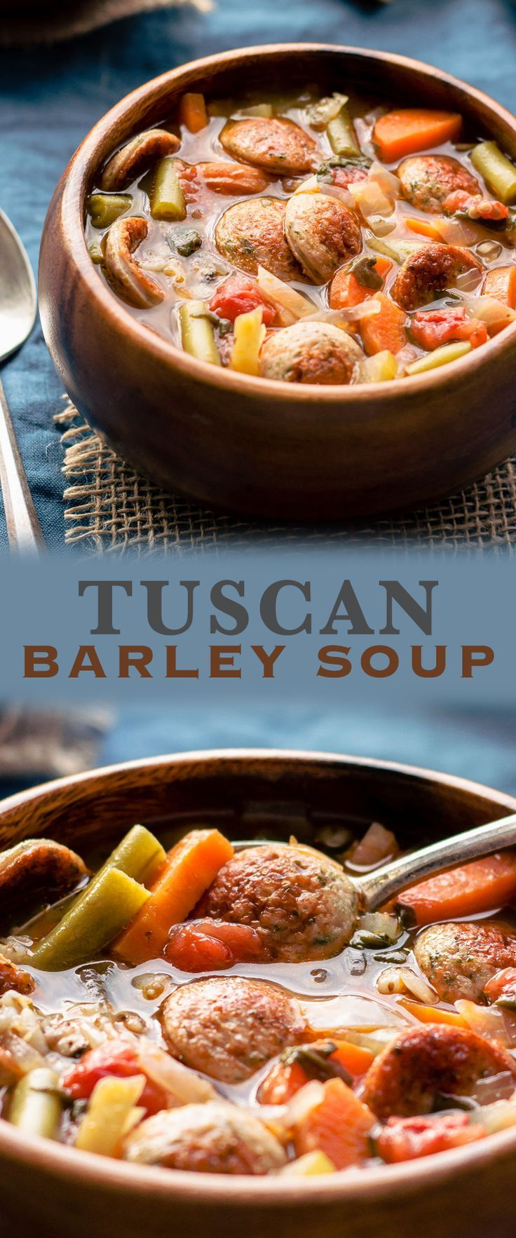 Delicious and healthy Tuscan Barley Soup - full of vegetables and low-fat turkey sausages, it's very easy to make and ready within 60 minutes.