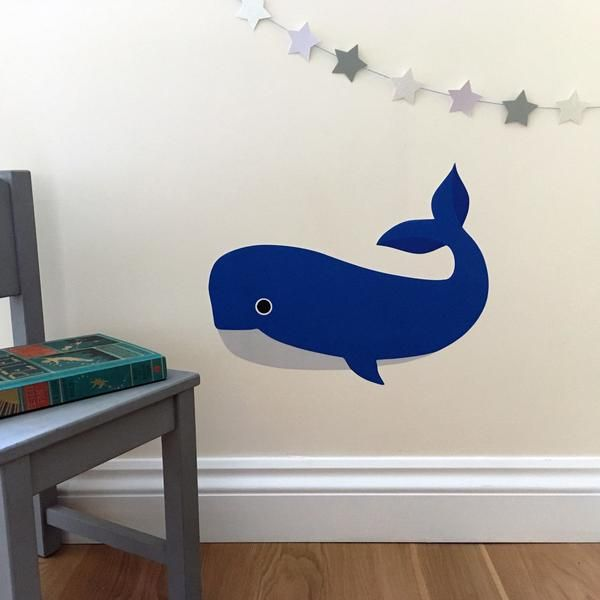 whale wall sticker / decal for a baby nursery