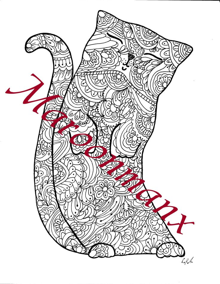 adult coloring page cat cute art printable downloadable single page junk smash diary journal