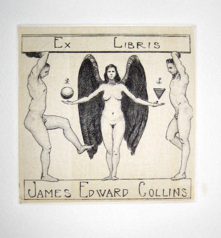 Ex Libris for James Edward Collins, etching and drypoint, 10cm x 10cm by Matthew James Collins