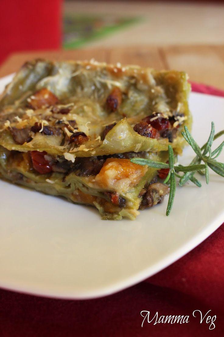 Lasagne con zucca, funghi e podori secchi