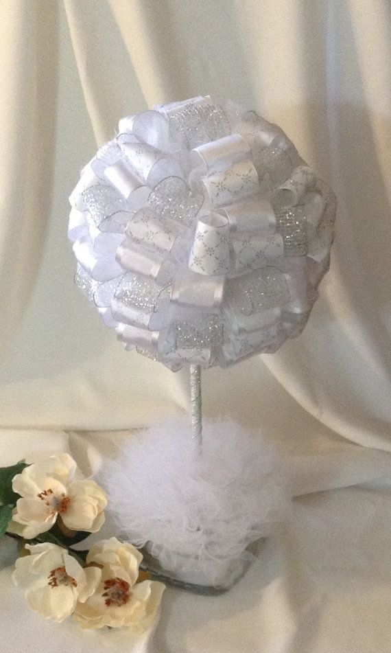 Check out this item in my Etsy shop https://www.etsy.com/listing/231027330/white-and-silver-wedding-topiary-wedding