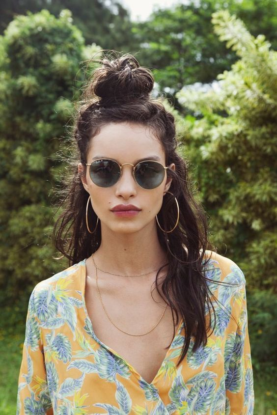 half up messy top knot
