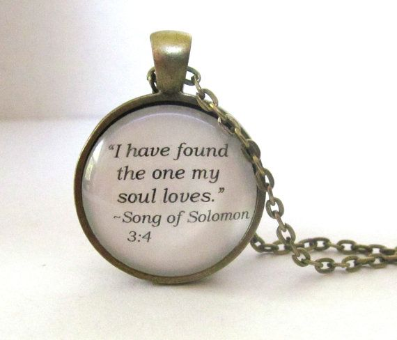 Song of Solomon Necklace Biblical Quote by JewelrybyJakemi on Etsy, $12.00