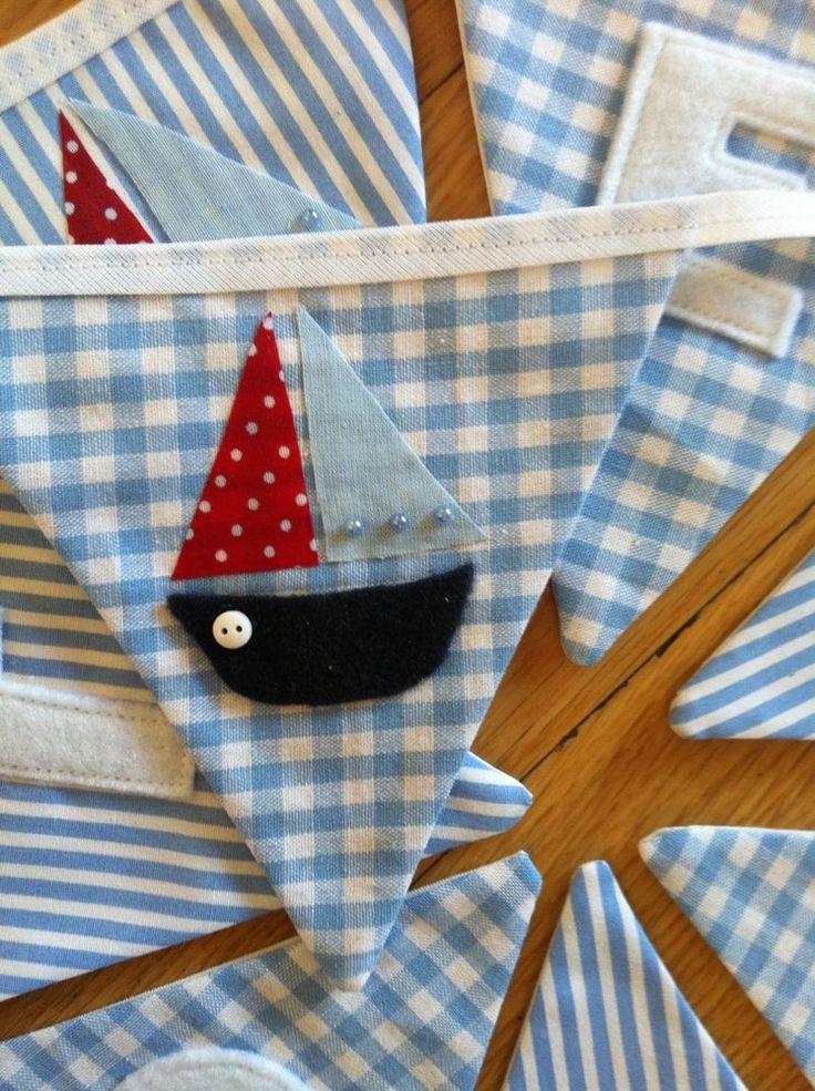 BABY BOY PERSONALISED BUNTING Baby Blue **Handmade** Boats Nautical